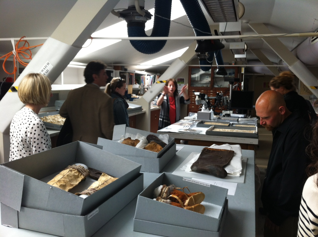 A view of the Peabody Museum conservation lab, with several Native Alaskan skin and gut objects on view