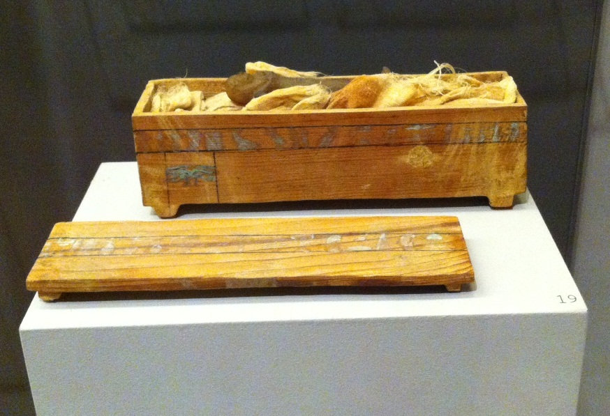 Shabti of Queen Neferu with  miniature coffin, from Deir el-Bahri, tomb of Queen Neferu, 11th Dynasty (ca. 2061-2010 BCE)
