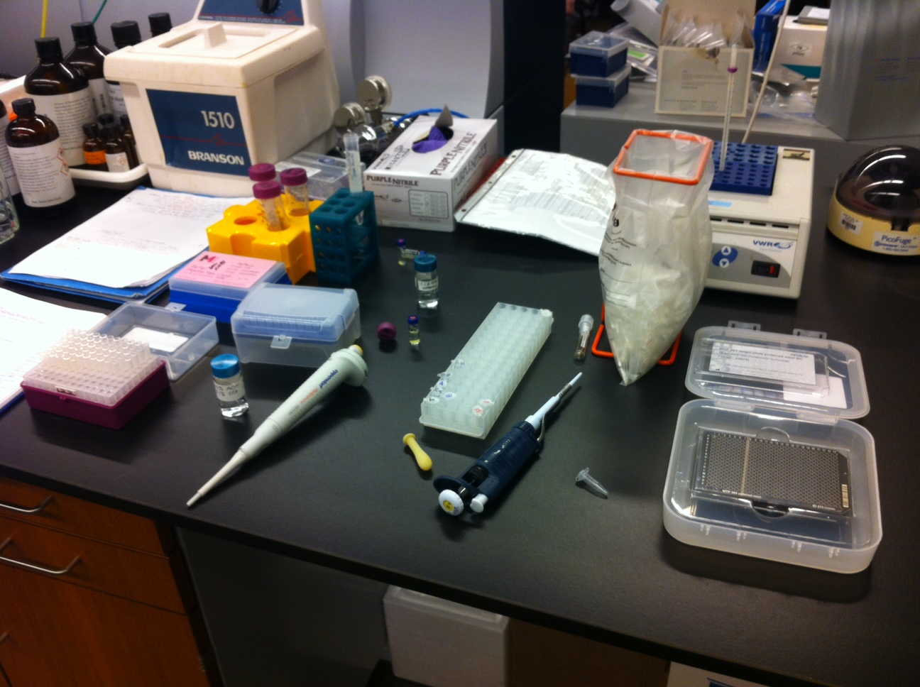 The sample prep area showing the equipment used, including the MALDI plate (lower right)