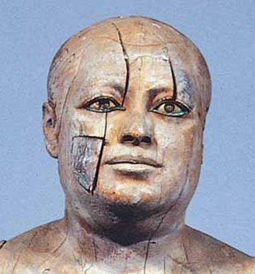 Egyptian wooden statue of Ka-Aper, also named  the Sheikh-el-beled, from the Vth Dynasty, decorated with inlaid eyes.