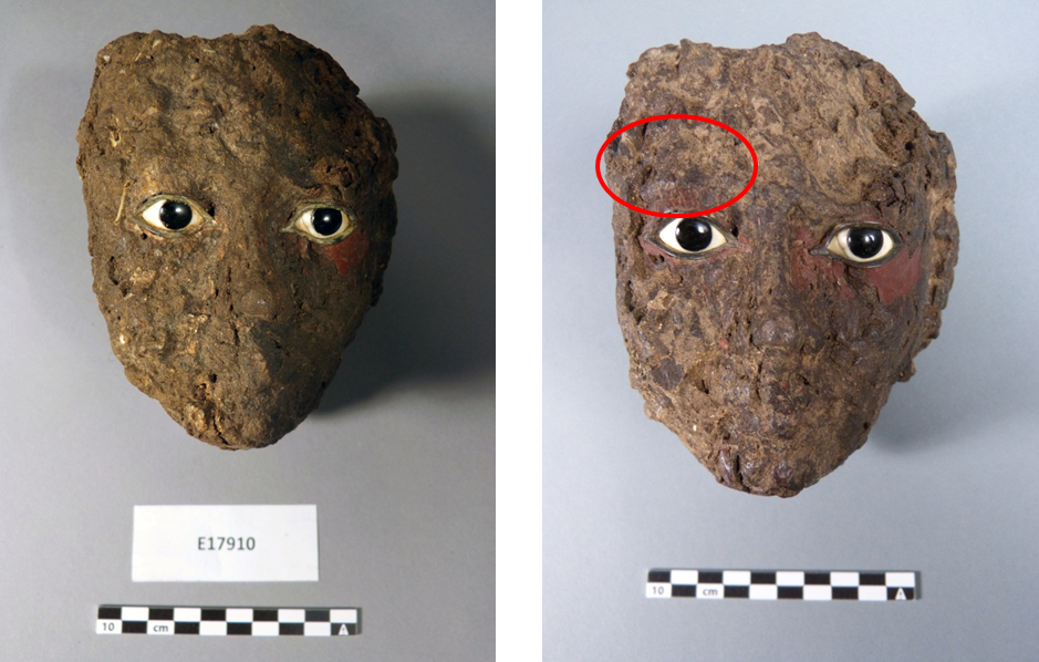 E17910's face before and after, with other remains of a wig.
