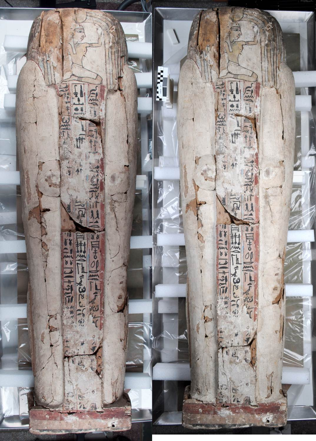 The coffin base before (left) and after (right) conservation treatment.