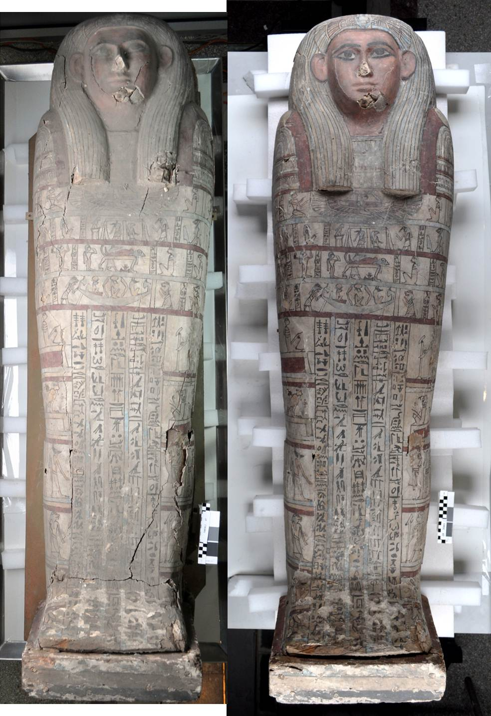 Tawahibre's coffin lid before (left) and after (right) conservation treatment
