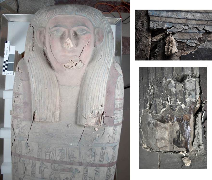Before treatment photos (clockwise from left): upper half of coffin showing layer of dust and large cracks and losses; large piece of painted gesso partially detached from top of head; large loss on wig, showing old animal glue adhesive from a previous restoration