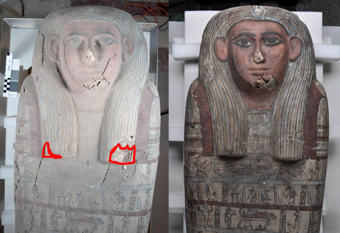 Detail of the head and wig before (left) and after (right) conservation treatment, with losses in before treatment photo outlined in red