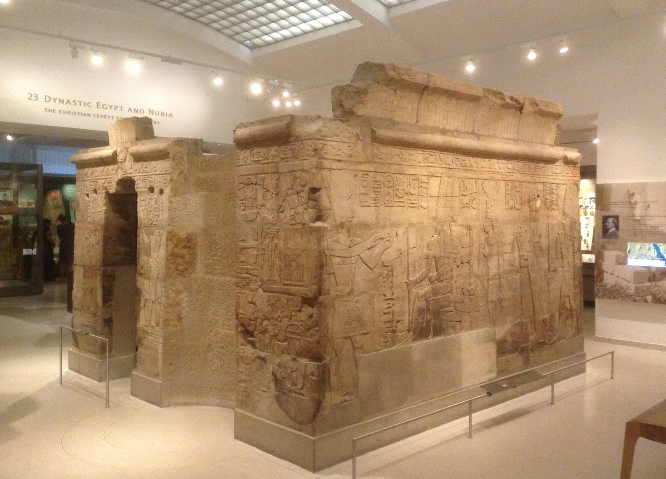 One of the new Egyptian galleries at the Ashmolean, prominently featuring the shrine of King Taharqa