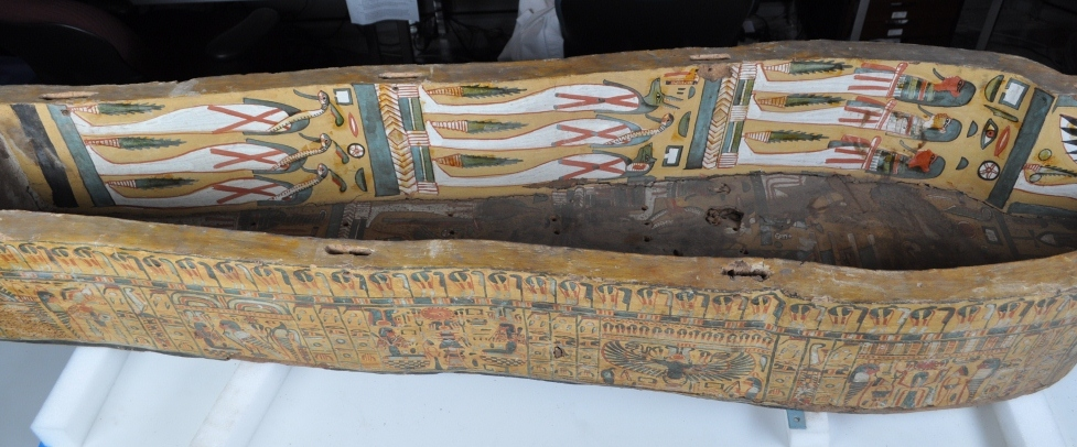 Views Inside A Painted Wooden Coffin In The Artifact Lab