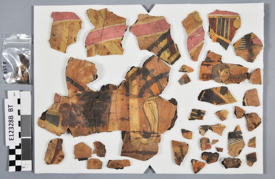 Cartonnage fragments before treatment, in no particular arrangement or orientation