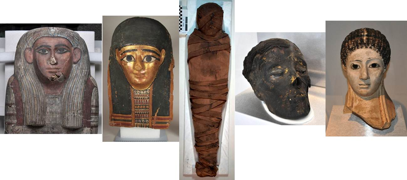 From left to right: Tawahibre, Nefrina, Tanwa, unknown woman's head, unknown woman's funerary mask