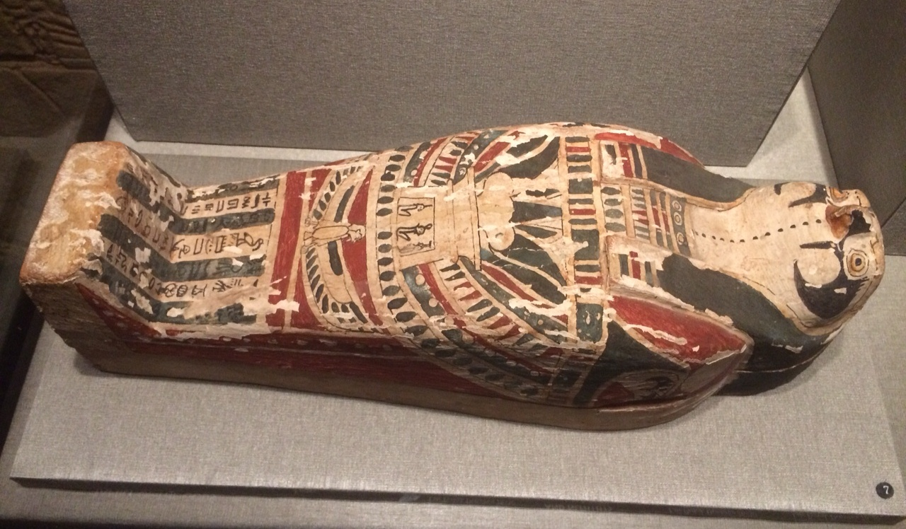 A falcon-headed coffin for a corn mummy, on loan from the Michael C. Carlos Museum