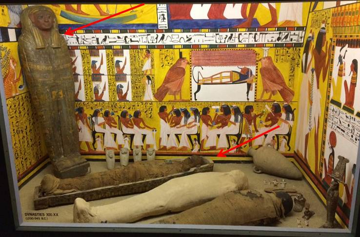 Nespekashuti's coffin lid (far left) and Nespekashuti in his coffin box (at foot of lid)