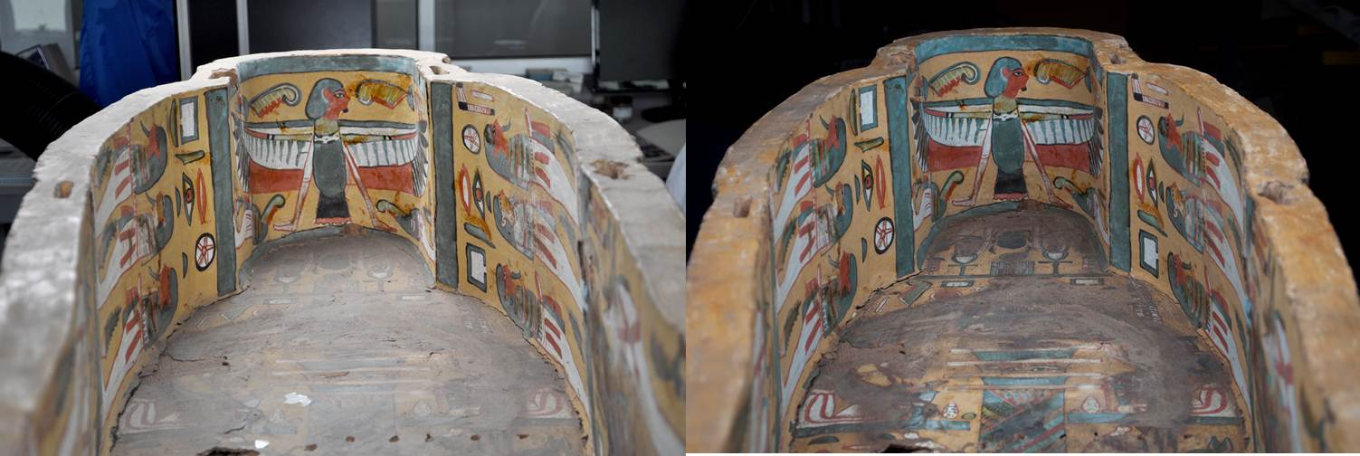 A detail of the head of the interior of the coffin before (left) and after (right) conservation treatment.