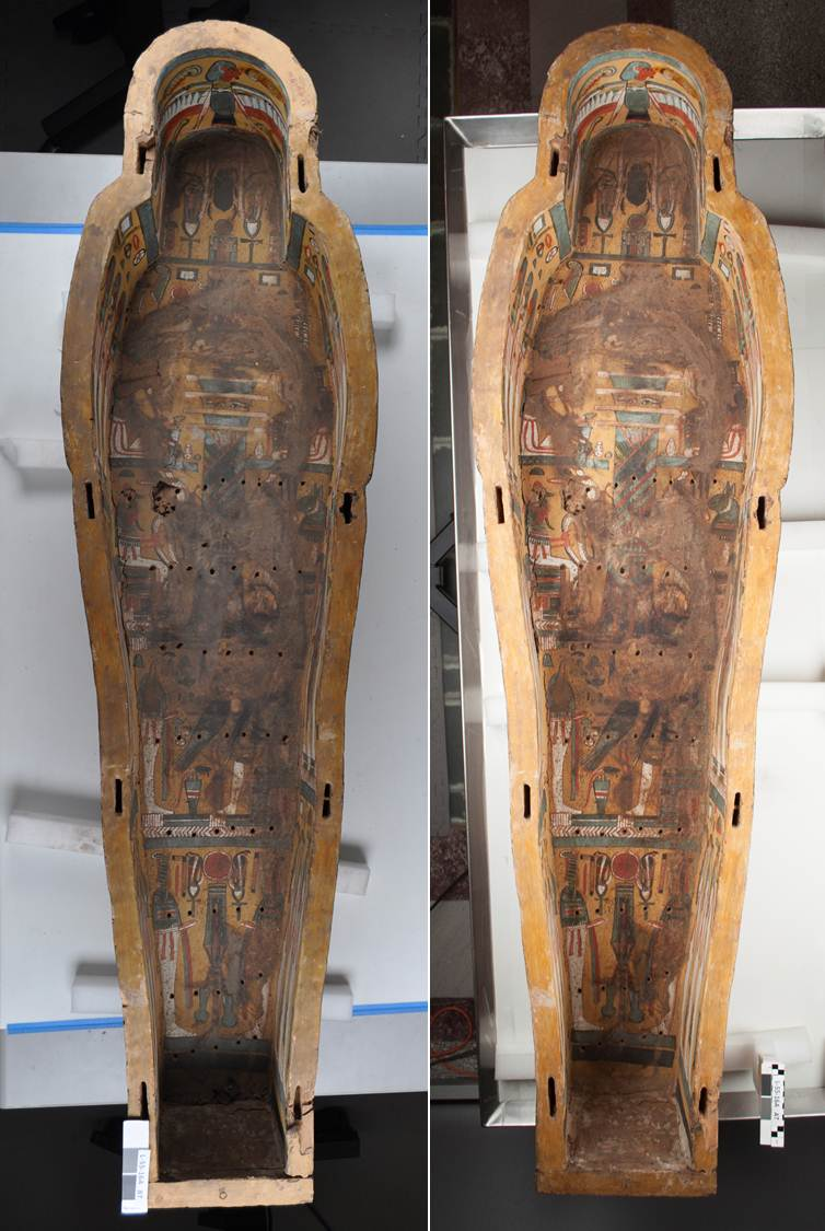 A view of the interior of the coffin before (left) and after (right) conservation treatment.