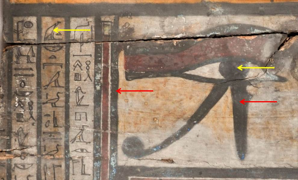 It appears that there is a lot of black paint here, but not all of this paint was originally black. The yellow arrows point to black paint while the red arrows point to areas that I believe were originally blue.