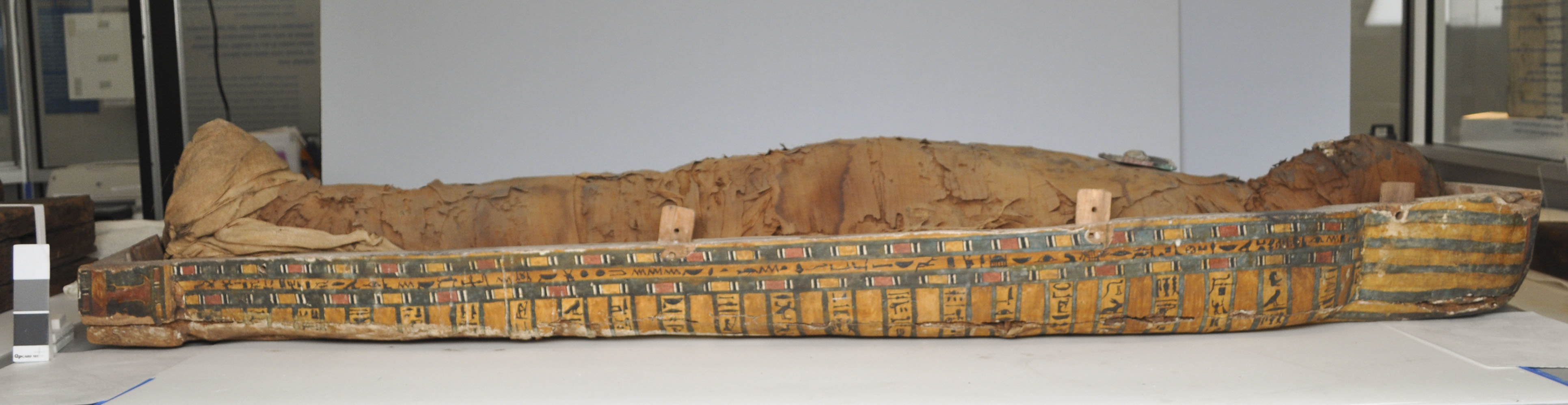 Overall view of the proper left side of Nespekashuti's coffin (before treatment)