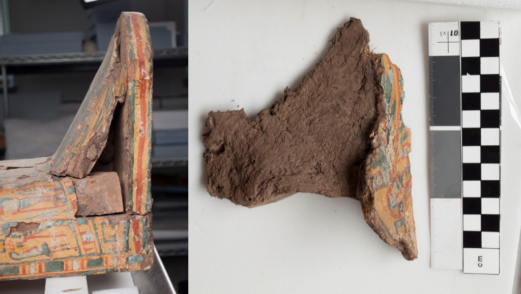This large piece of painted mud plaster (detached from the foot of the coffin, seeing on the left) is 11 cm thick.