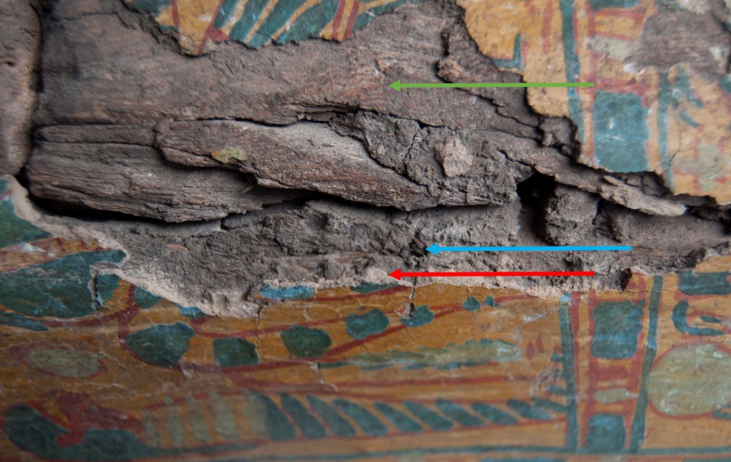 This area of damage clearly shows the wood substrate (green arrow), coarse mud plaster (blue arrow), and finer mud plaster (red arrow).