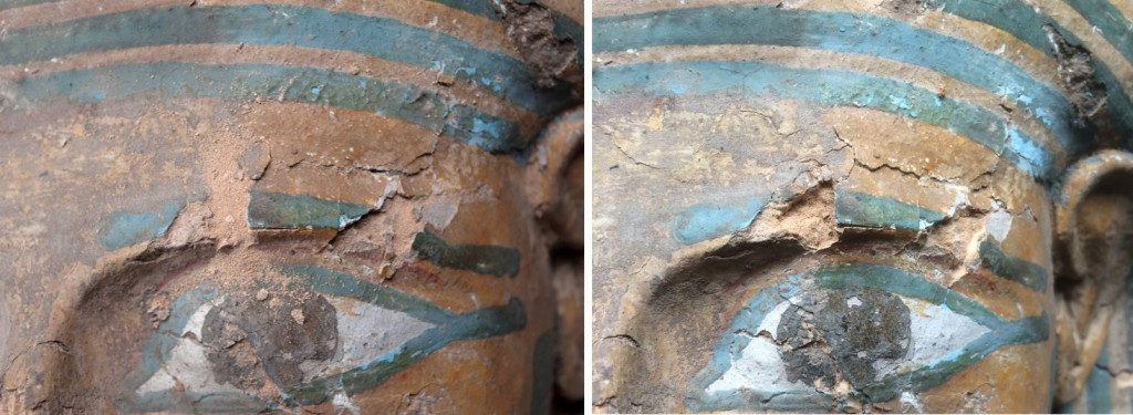Detail of losses near the left eye before, showing powdery mud plaster (left) and after cleaning and consolidation of the mud plaster in the losses