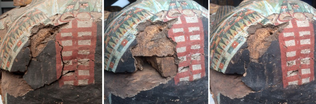 Top of the head before (left), during (center), and after (right) reattaching painted plaster fragments