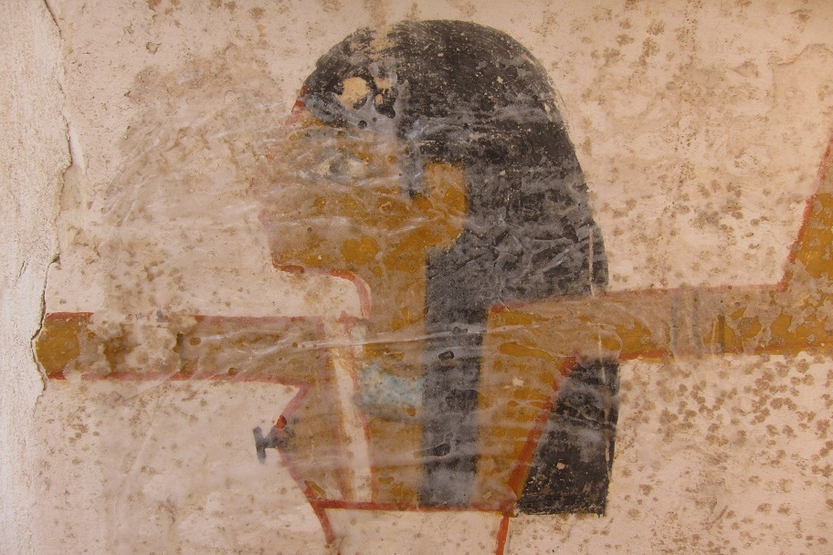 A detail of one of the goddesses - the hazy white substance over the surface is the cyclododecane, applied during the previous field season