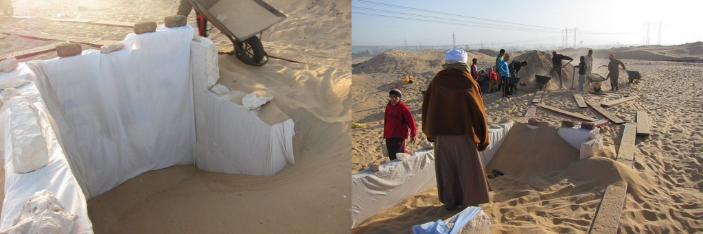 Cotton fabric draped over the tomb walls (left) and a shot during backfilling (right)