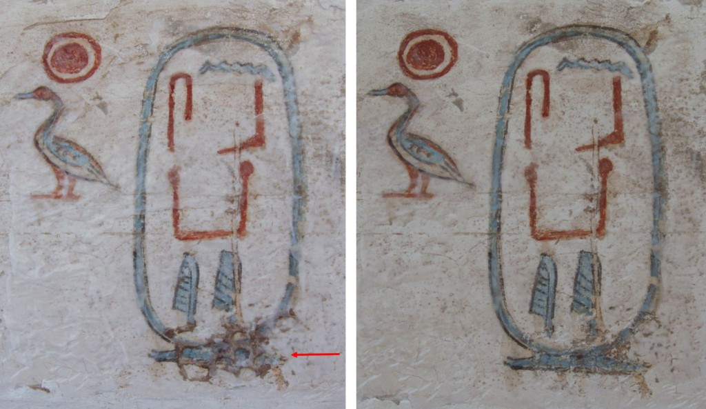 Senebkay's cartouche before removal of hornet's nest remnants (left, indicated with red arrow) and after cleaning (right)