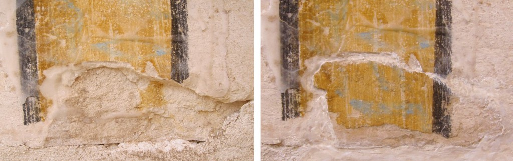 A detail of a column in the burial chamber before (left) and after repair of a detached fragment (right)