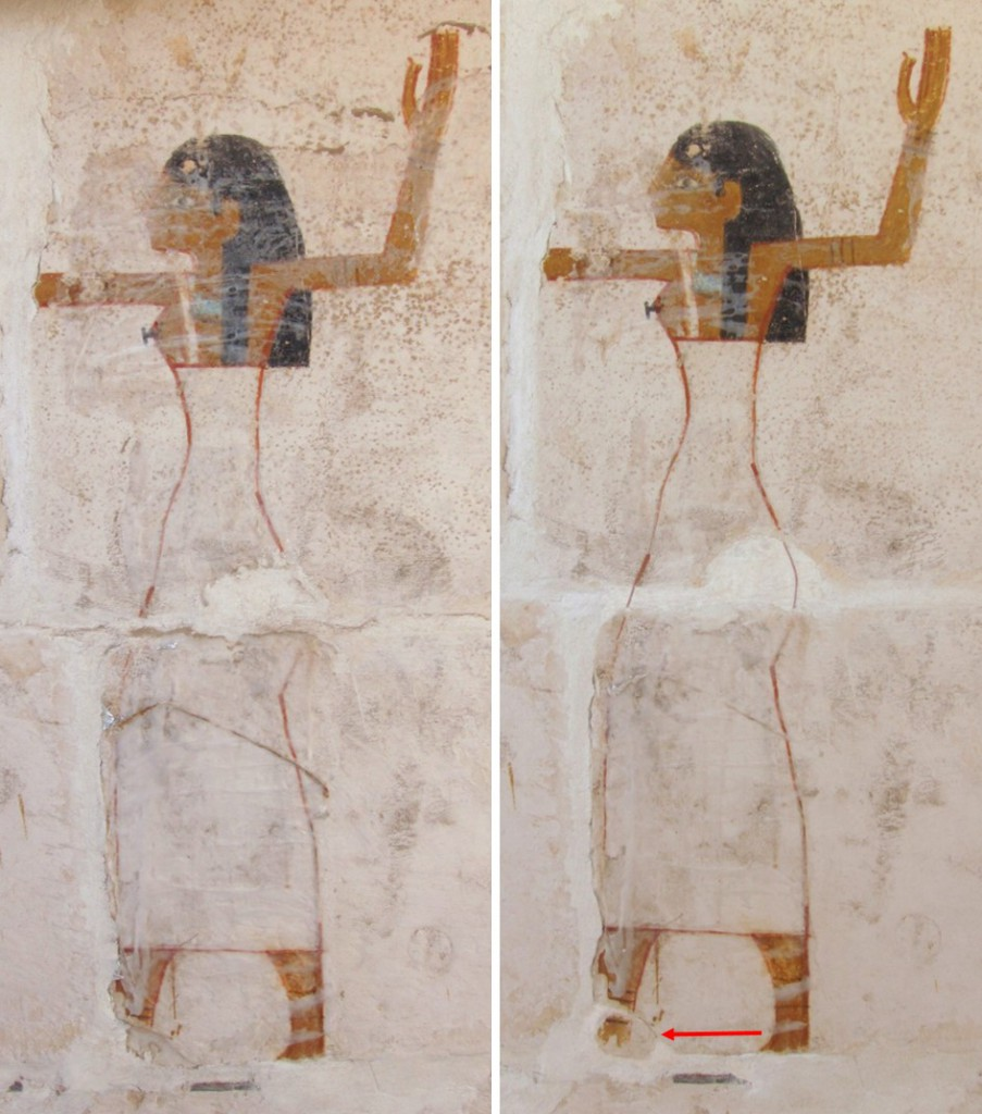 One of the goddesses (Isis or Nephthys) before (left) and after (right) inpainting and replacement of detached fragment (red arrow)
