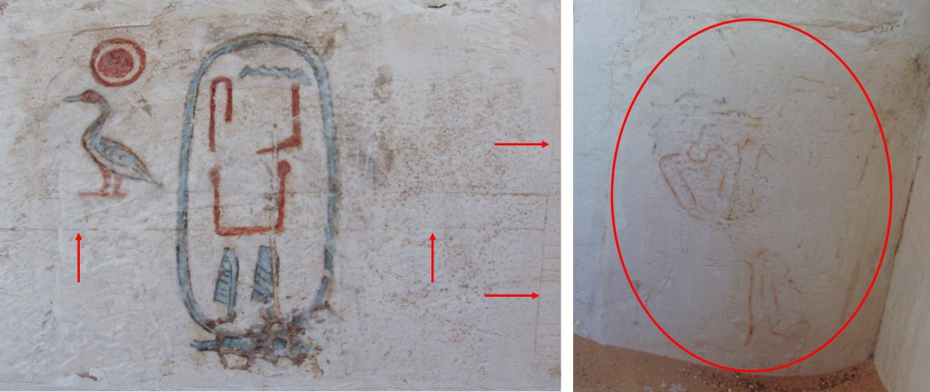 The previous decoration on the resused blocks is visible in many areas (indicated with red arrows in the image on the left) and in some areas there is still paint remaining (circled on the right)