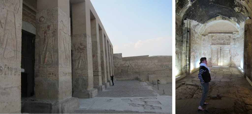 A view walking into the Temple of Seti I (left) and a shot of Dr. Jen Wegner inside one of the chapels in the temple (right)