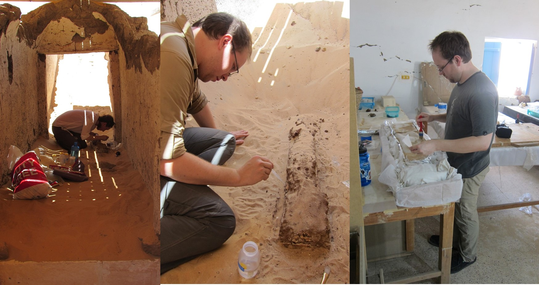 A view of me working on the coffin fragment taken from the burial chamber (left), Danny working on the fragment in situ (center) and back in the lab (right)