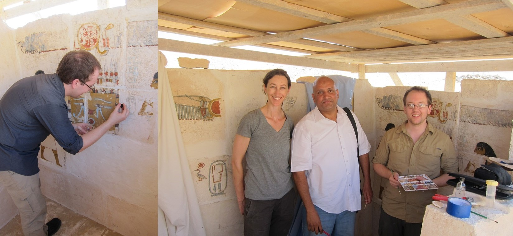 Danny working in the tomb (left) and myself, Yehia, one of the Egyptian conservation inspectors, and Danny in the tomb