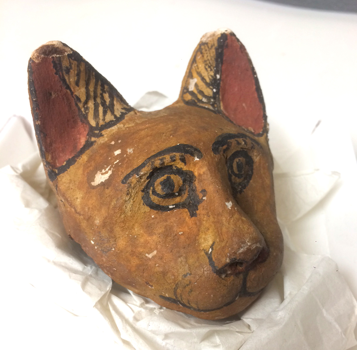 E11474: Ptolemaic cartonnage cat head from Abydos