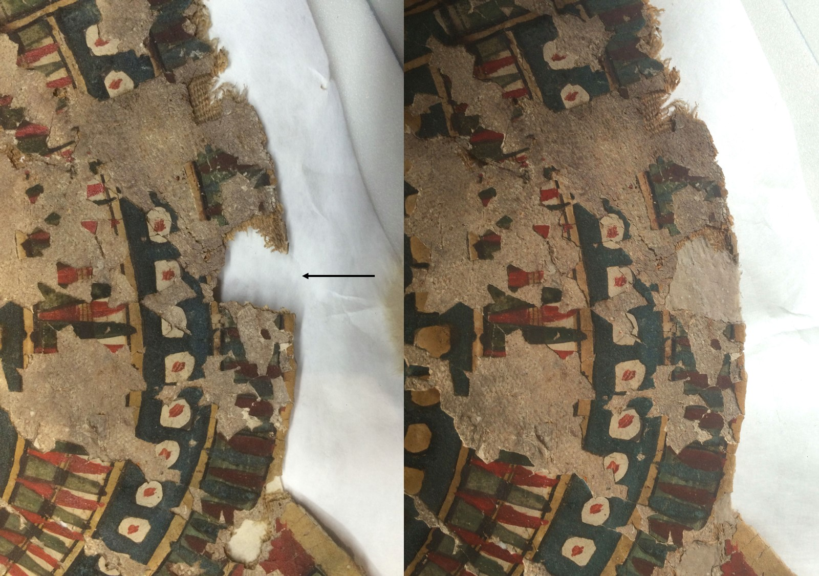Detail image before (left) and after (right) filling a loss