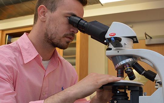 A graduate student using a microscope.
