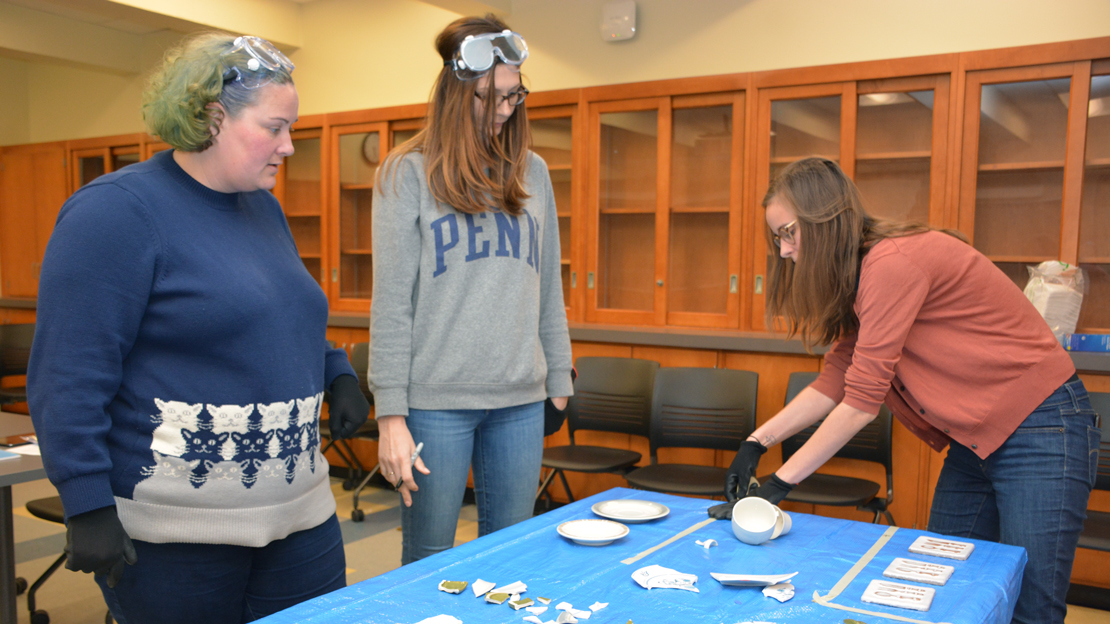 Students learning at the Penn Museum