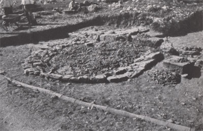 Archaic altar before the removal of the surface soil.