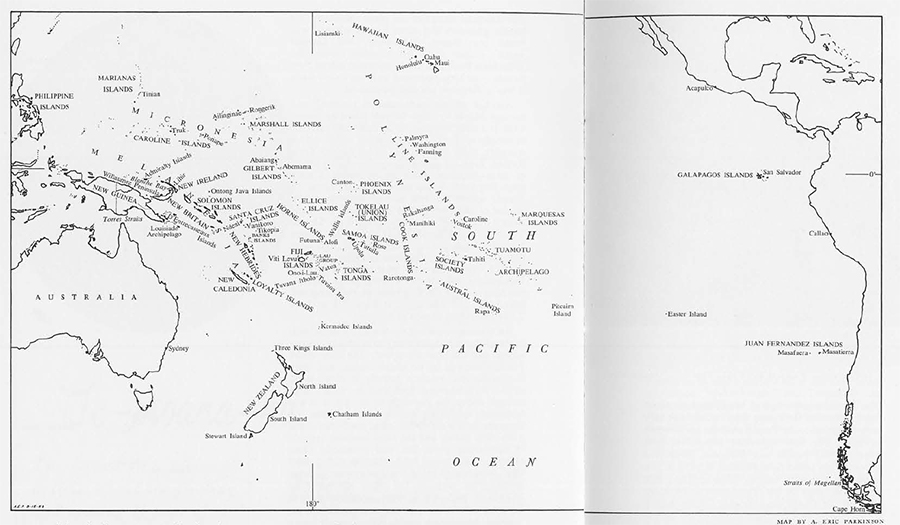 map of South Pacific Ocean