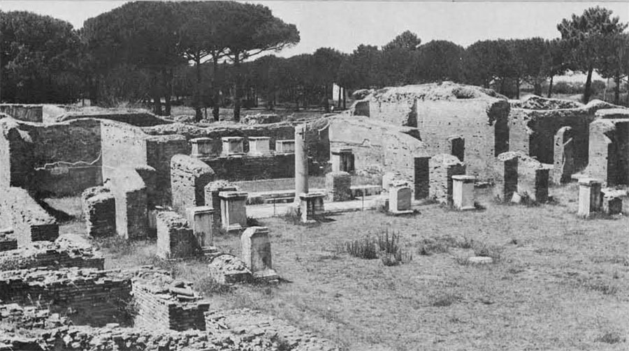 The barracks of the Vigiles at Ostia, the ancient port of Rome. Contingents of the Vigles at Rome served four month tours of duty at Ostia.