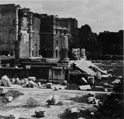 The Forum of Augustus where the PerfectCity presided over his court. In the forum stand the ruins of the Temple of Mars Ulter, vowed by Augustus at the battle of Philippi.