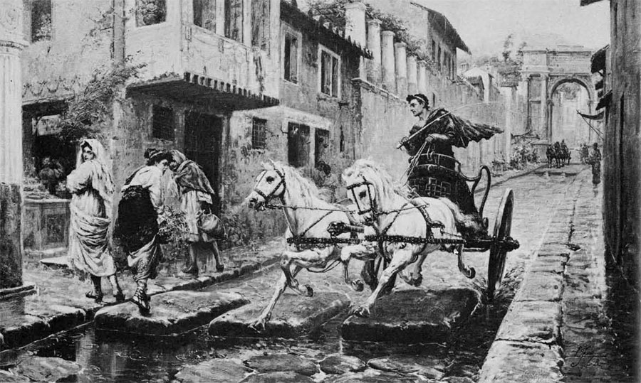 A late afternoon street scene in ancient Pompeii: with traffic restrictions lifted during the two hours before nightfall, the driver races his chariot between stepping stones over which two ladies have just walked to avoid the puddles of rainwater.