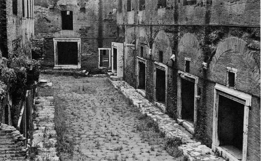 A street of shops in the MArket of Trajan, one of the commercial districts where goods were delivered by wagons at night.