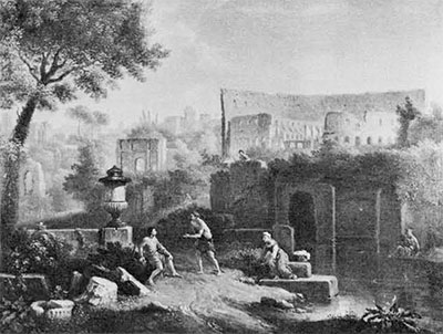 Drawing of Roman landscape