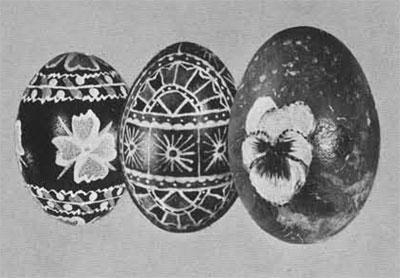 Polish Easter Eggs. (Left) Design used in the coal district of Pennsylvvania; painted by Mrs. Francis Kazalskis. (Center) Malovane Jako made by Chester Sychowski. (Righ) Prize hand-painted egg by Mrs. Sophie Mendis.