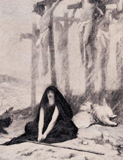 drawing of Rizpah watching over the bodies of the seven sons
