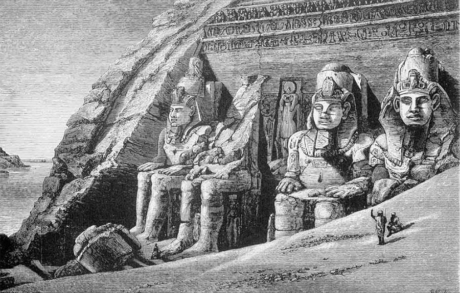 drawing of Great rock-cut Temple, Abu Simbel