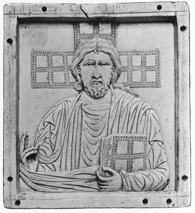 Stylized lines are used for this representation of Christ on an ivory panel in the Louvre. It is dated in the second half of the tenth century.