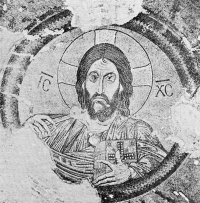 From the dome in the Monastery of Daphane, this enormous half-figure of Christ dominates the space.