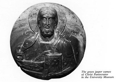 The green jasper cameo of Christ Pantocrator. Museum Object Number: 29-128-575