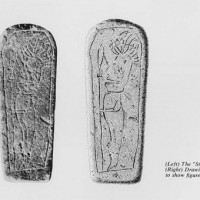 """(Left) the """"Stela"""" (Right) Drawing to show figure."""
